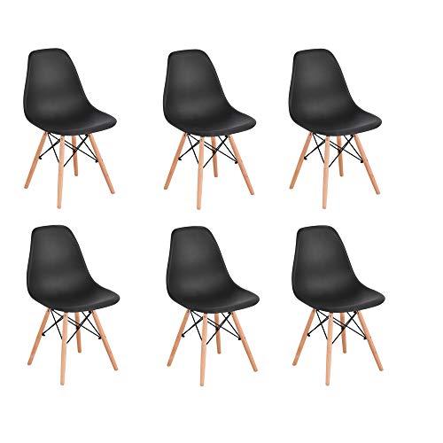 KunstDesign Set di 6 Sedie da Pranzo con Seduta in Polipropilene e Gambe in Legno Massello di Faggio, Design Ergonomico (Nero)
