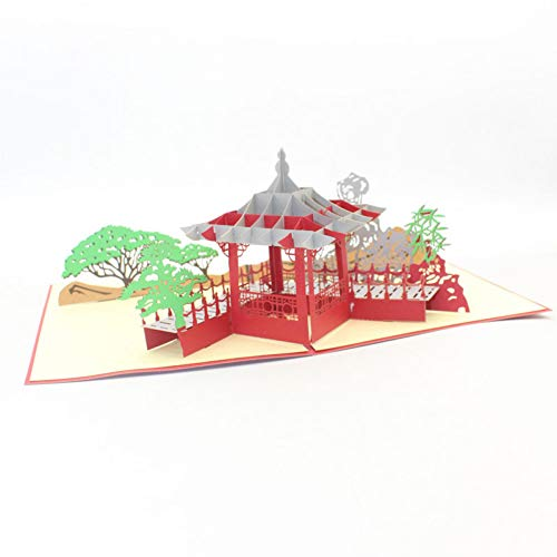 HUDETIE 3D laser gesneden handgemaakte snijwerk Chinese paviljoen tuin papier uitnodiging wenskaarten ansichtkaart zakelijke creatieve gift souvenir