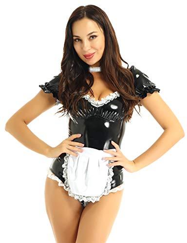 TiaoBug Damen Dienstmädchen Kostüm Wetlook Lack Leder Body Ouvert Dessous Set Satin Schürze Spitzen Halsband Choker Gothic Outfits Schwarz X-Large