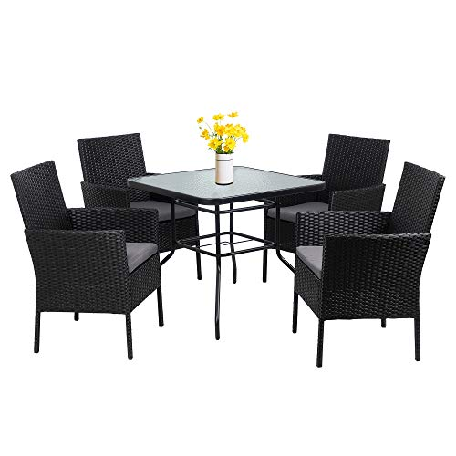 Walsunny 5-Piece Indoor Outdoor Wicker Dining Set Furniture,Square Tempered Glass Top Table with Umbrella Hole,4 Chairs-Black(Grey Cushions)