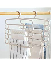 Cutezy Plastic Multifunctional 5 Layers Clothes Storage Organiser Hanger for Wardrobe, Shirts, Scarf, Sarees, Towels, Ties, Pants Space Saving Hanger, Cupboard (Pack of 4) Multicolor