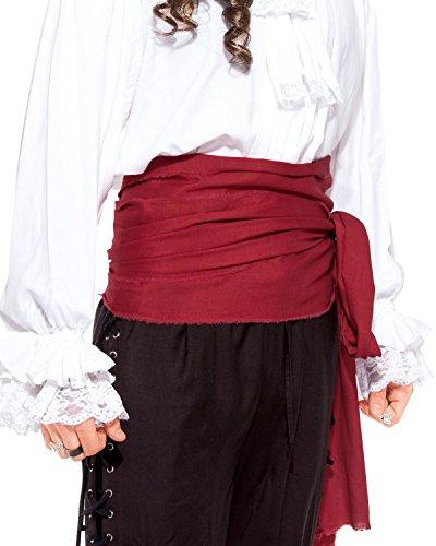 Piraten-Schärpe, Mittelalter, Renaissance, großes Leinentuch, Artikel C1417, C1417-Red, Rot, C1417-Red