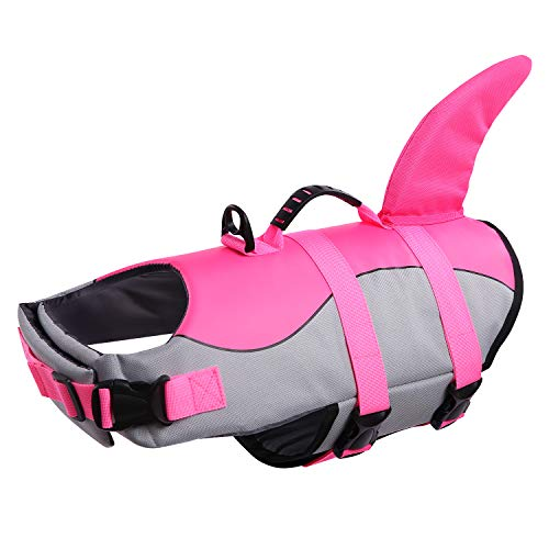 Queenmore Dog Life Jacket Ripstop Dog Safety Vest Adjustable Preserver with High Buoyancy and Durable Rescue Handle for Small,Medium,Large Dogs, Pink Shark X-Small