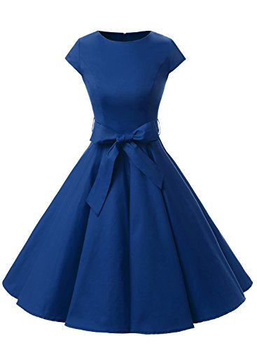 Dressystar Vintage 1950s Polka Dot and Solid Color Prom Dresses Cap-Sleeve XXL Royal Blue