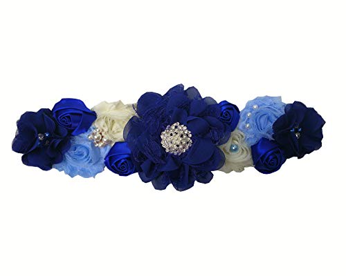 Abading Pregnancy sash maternity sash belt with flowers for baby shower (Royal Blue)