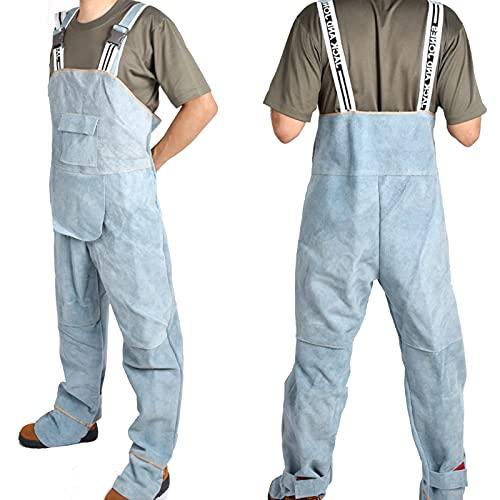 TXYJ Traje de soldadura, chaqueta de cuero, monos de cuero de vacuno, resistente al fuego, protección de pies, ideal para electricista, soldador, portero, azul, XXL