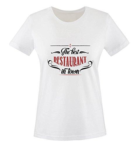 Comedy Shirts - The Best Restaurant in Town - Damen T-Shirt - Weiss/Schwarz-Rot Gr. M