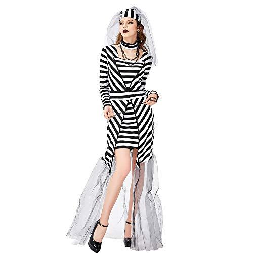 Averyshowya Kleidung für Erwachsene Halloween Paar Bräutigam Leiche Braut Horror Hochzeitskleid Zombie Braut Dress Up Cosplay Kostüm @L