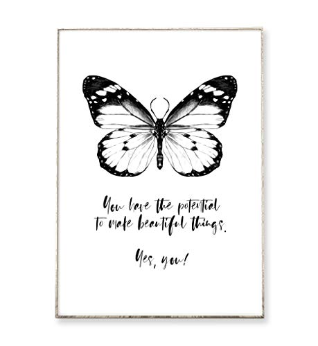 DIN A4 Kunstdruck Poster BEAUTIFUL THINGS -ungerahmt- Typografie, Schmetterling, Spruch, Bild, Motivation