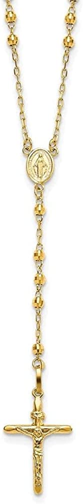 Jewelry-14k Diamond-cut 3mm Beaded Semi-solid Rosary Necklace