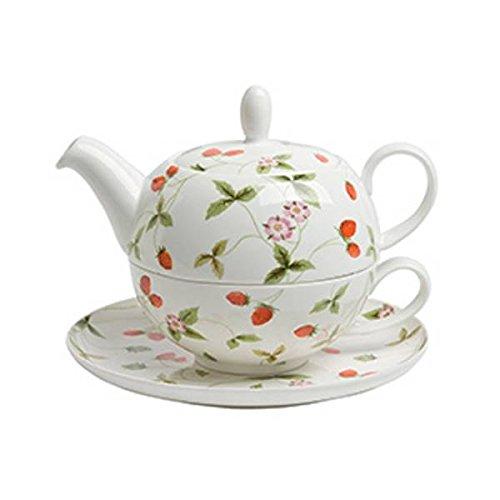 TeaLogic Tea for one Set Mirella Erdbeeren Teekanne + Tasse 0,25 + 0,5L weiß rot