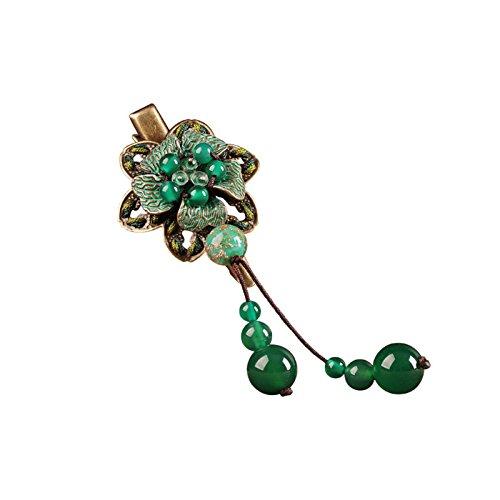 Jiu Bu Style Ethnique, Style Naturel, Sculpture Sur Coquille, Verre Coloré,pinces à Cheveux Vintage Epingle à Cheveux, Bronze,vert,Green-one