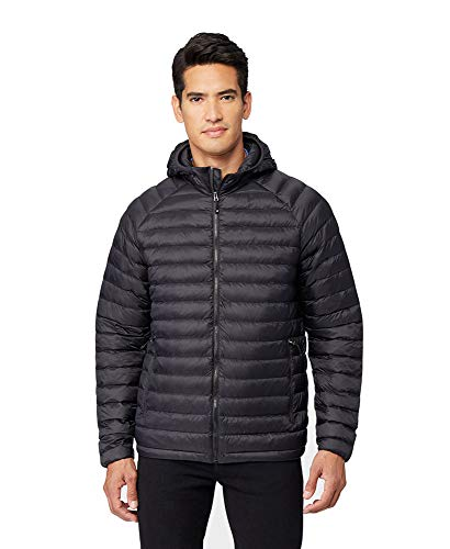 32 DEGREES Mens Ultra-Light Down Packable Hooded Jacket, Black, Size Medium