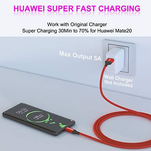 USB Typ C Kabel 5A, AKOADA [3 Stück 0.5M+1M+2M] Schnell Ladekabel für Huawei P30 P20 pro P20 Mate 30 20 10 pro Honor 10 V10 P10 Plus Mate 30 pro usw(Rot) - 2
