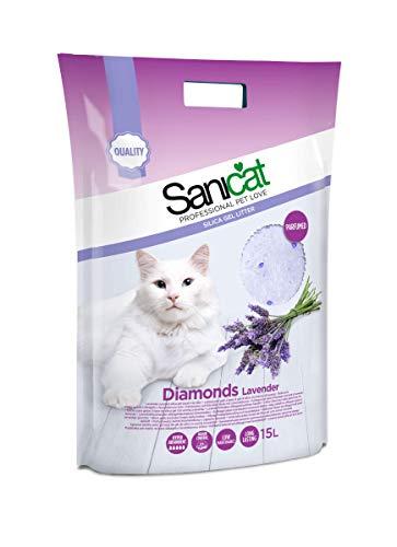 SANICAT Diamonds Lettiera Lavender Perle di Gel di Silice Assorbente - 15L