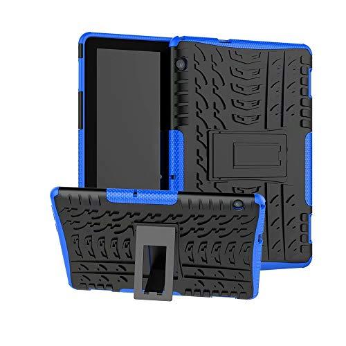XITODA Funda Huawei MediaPad T5 10, Hybrid Rugged Armor Duro PC + TPU Silicone Back Case Cover Carcasa para Huawei MediaPad T5 10 2018 Tablet Funda con Kickstand - Azul Oscuro