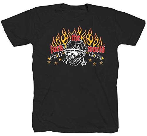 Camiseta F*ck The World Oldschool Rock Heavy Metal Chopper Route 66 Punk, color negro Negro L