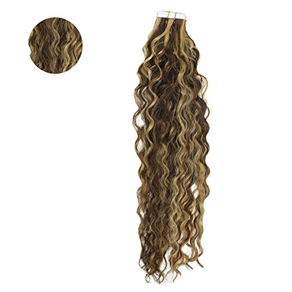 You Shine Tape In Natural Curly Hair Extensions 18Inch Middle Brown Highlight With Honey Blonde Color Tape I Hair Extensions Human Hair Skin Weft Tape