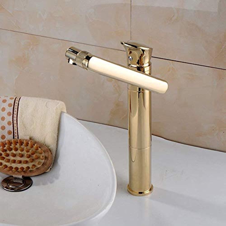 Scofeifei Wasserhahn Gold Wasserhahn Bad erhht Wasserhahn über Gegenbecken rotierenden Wasserhahn Waschbecken heien und kalten Wasserhahn