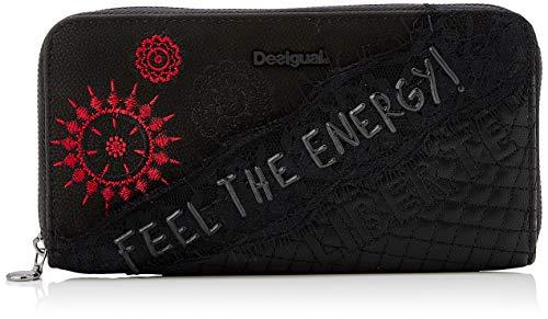 Desigual Damen Wallet Rep Comunika Zip ARO Geldbörse, Schwarz (Negro), 2x9.5x19 cm (B x H x T)