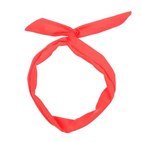 moonbow Bandeau à nouer - Bandeau Cheveux Femme - Bandeau Vintage - Headband (Corail fluo Uni)