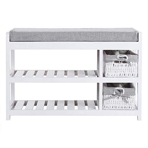 HYY-AA Zapato estante de madera, madera simple zapato de 2 capas Cojín estante con almacenamiento de muebles del hogar y de la cesta Cesta de almacenamiento for una variedad de Ajuste