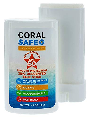 Coral Safe SPF 50 Face Stick Sunscreen, All-Natural Biodegradable Reef Safe Sunscreen, Made in the USA, Water Resistant Kid - Safe