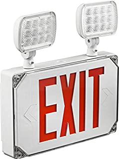 Wet Location Red Exterior Weatherproof Outdoor LED Combo Exit Sign Emergency Light With Battery Backup, AC 120V/277V, UL Certified