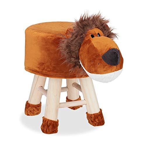 Relaxdays Tierhocker Löwe, Dekohocker für Kinder, Abnehmbarer Bezug, Holzbeine, gepolstert, Kinderhocker Tiere, braun, HBT: 49 x 34,5 x 28 cm