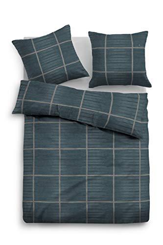 TOM TAILOR 0009877 Bettwäsche Garnitur mit Kopfkissenbezug Flanell 1x 155x220 cm + 1x 80x80 cm jeans