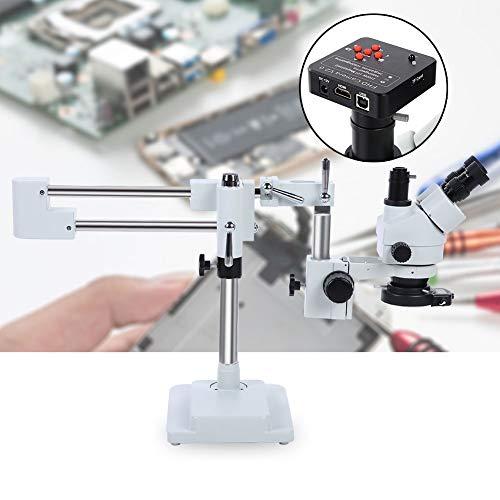 Wandisy Trinocular 3.5X-90X stereo zoom microscoop, Trinocular laboratorium microscoop in onderzoekskwaliteit op een dubbelarm statief met ringlamp 100-240V (EU plug)