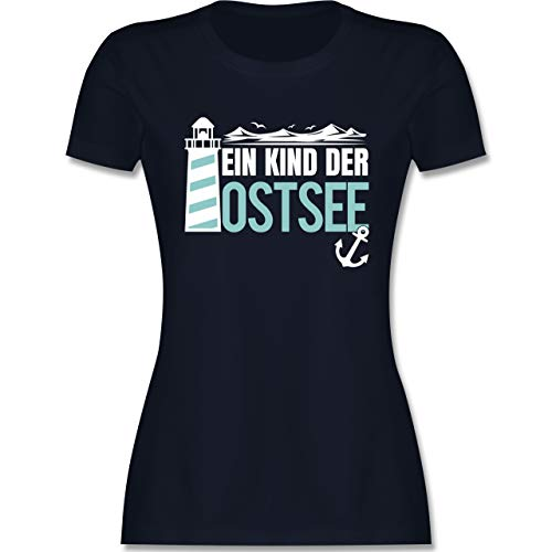 Statement - EIN Kind der Ostsee blau/weiß - XXL - Navy Blau - Statement - L191 - Tailliertes Tshirt für Damen und Frauen T-Shirt