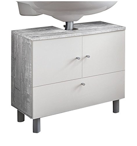 WILMES Badmöbel, Waschbecken, Badezimmerunterschrank, Unterschrank, Holz, Beton/Weiß Melamin Dekor, 32x60x54 cm