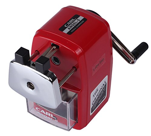 CARL Angel-5 Manual Pencil Sharpener Heavy Duty Quiet for School Home and Office,Red