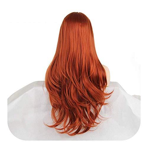 Perucas para mulheres cabelo humano 61 cm rosa laranja roxo lace front Wig vermelho cobre longo ondulado sintético com cabelo