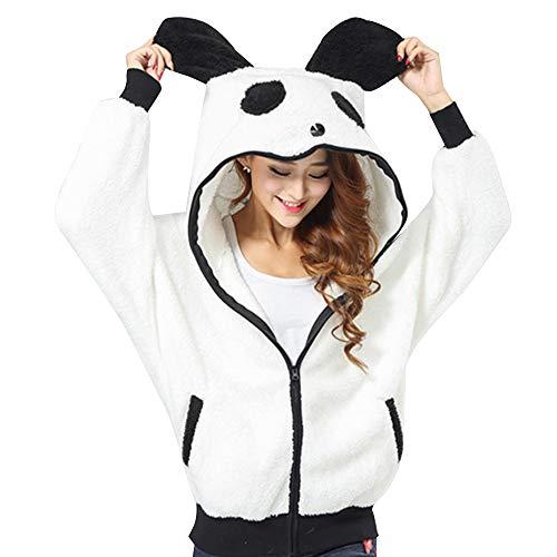Toocool Felpa Donna Cappuccio Orecchie Eco Pelliccia Maglione Panda Kawaii Nuova 561