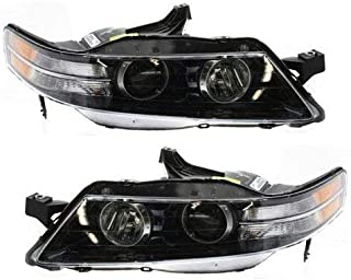 Headlight Lens and Housing Compatible with 2007-2008 Acura TL Type-S Model Passenger and Driver Side