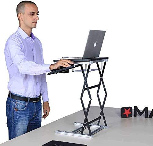 HIGHKAS Stehpult Konverter Höhe einstellbar Ergonomisch sitzen Stehen Workstation Riser Easy Lift Kompakter Computer Klapptisch-Schwarz