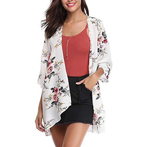 YYH Cardigan bloemenprint Kimono Cardigan losse vertukking vrouwen casual blouse tops X-Large wit