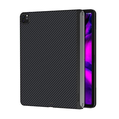 PITAKA iPad Pro 2020/2018 対応 ケース 11インチ バックカバー MagEZ Case 磁気吸着 Magic Keyboard 併用 超スリム 軽量 極薄 HUB 衝撃保護 アラミド繊維 カーボン風 黒/グレーツイル柄