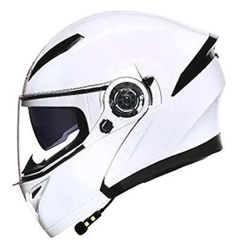 Bluetooth Casco Modular Moto,Casco De Motocicleta,Adulto Casco Moto Integral Con Función De Respuesta Automática,ECE Certificación Casco De Motocicleta Con Lente De Doble Parasol F,M=54~56CM