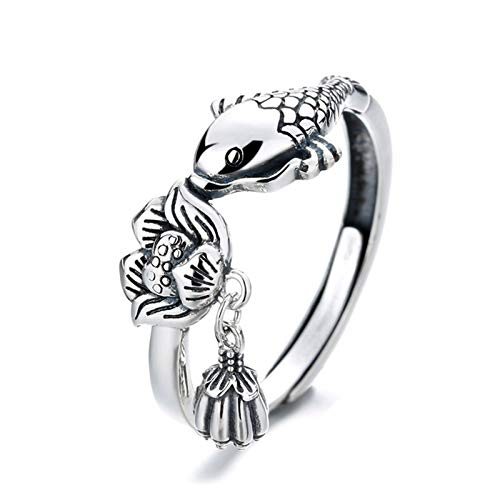 Elibeauty Fish Chunky Ring, 925 Sterling Silver Adjustable Ring(SILVER)