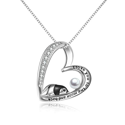 YFN Sterling Silver Penguin Necklace Gifts for Women I Love You to The Moon and Back Heart Necklaces Mothers Day Jewellery for Mum Daughter Girls (penguin pearl necklace)