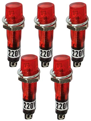 AERZETIX - 5 x Kontrollleuchte rund - 230V AC - Rote - Neonlichtlampe - Ø 7,5 mm - C43611