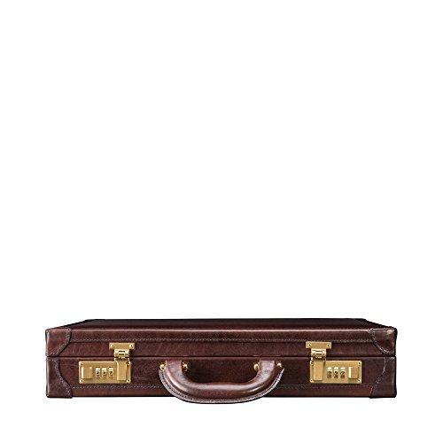Maxwell Scott Men's Italian Leather Attache Case - Scanno Brown