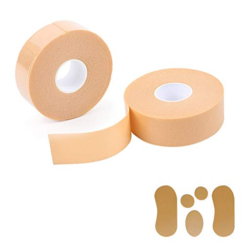 Zhongtou 2pc Moleskin Roll 2.5cm * 5m Espuma impermeable Moleskin para pies Prevención de ampollas Cinta multiusos de óxido de zinc para talón, dedo protección y 5pcs para el cuidado pies (color)