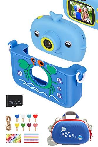 Luclay Kinderkamera, Digital Fotokamera Selfie und Video Kleinkind Kamera mit Kameratasche, Silikonhülle, Fotoclip und 32 GB Karte, 20 MP HD 1080P wiederaufladbares und stoßfestes für Kinder (Blau 2)