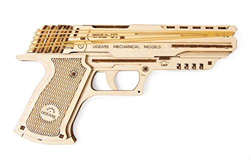 UGEARS 70047 Wolf-01 Rubberen band pistool houtmodel bouwset | Veilig & milieuvriendelijk modelbouwset van hout, eenheidsmaat