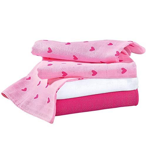 Bornino Mulltücher (3er-Pack) Herz Basics Baby Mullwindeln 80x80 cm - saugstark - rosé/weiß