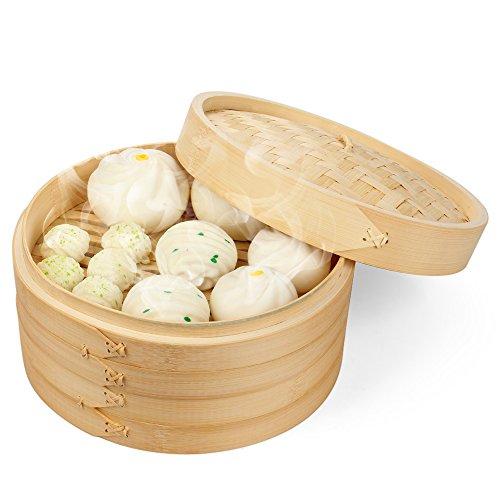 Flexzionkxgj Bambus-Dampfkorb Set mit 50 Dämpfereinsätzen und 2 Paar Essstäbchen, chinesischer Dampfgarer zum Kochen von Lebensmitteln 20 cm